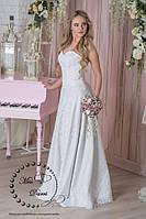 Свадебное платье а-силуэта белое гипюровое