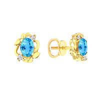 Золотые серьги гвоздики с топазами и бриллиантами 0,08 карат