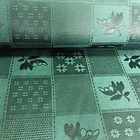 Ткань скатертная жаккардовая темно-зеленая с квадратами с рисунками с шириной 150 см , фото 1