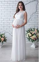 Свадебное длинное платье для беременных, айвори, фото 1