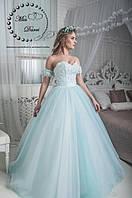 Сказочное свадебное платье бело-голубое