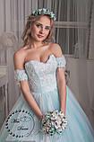 Сказочное свадебное платье бело-бирюзовое, фото 3