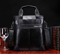 Портфель мужской Polo кожаный вертикальный (черный)