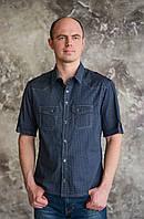 """Мужская рубашка """"Trussardi"""" темно-синего цвета.Новая летняя коллекция"""