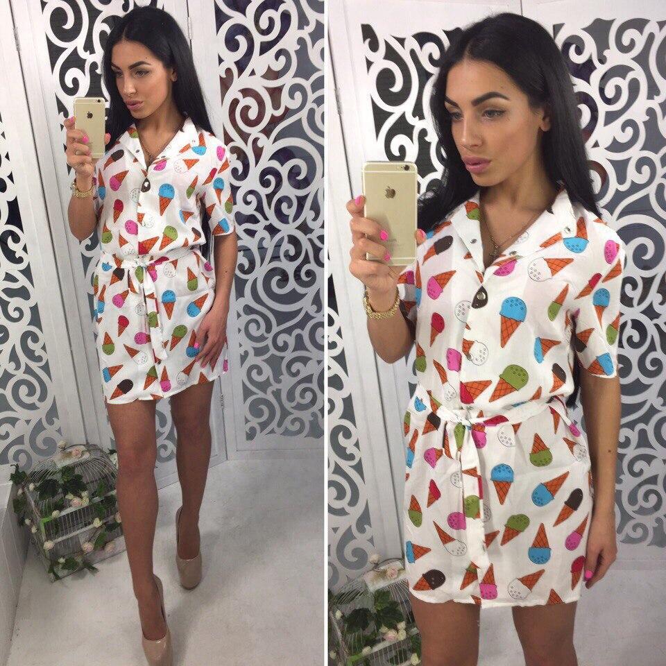 Штапельное платье с яркими рисунками