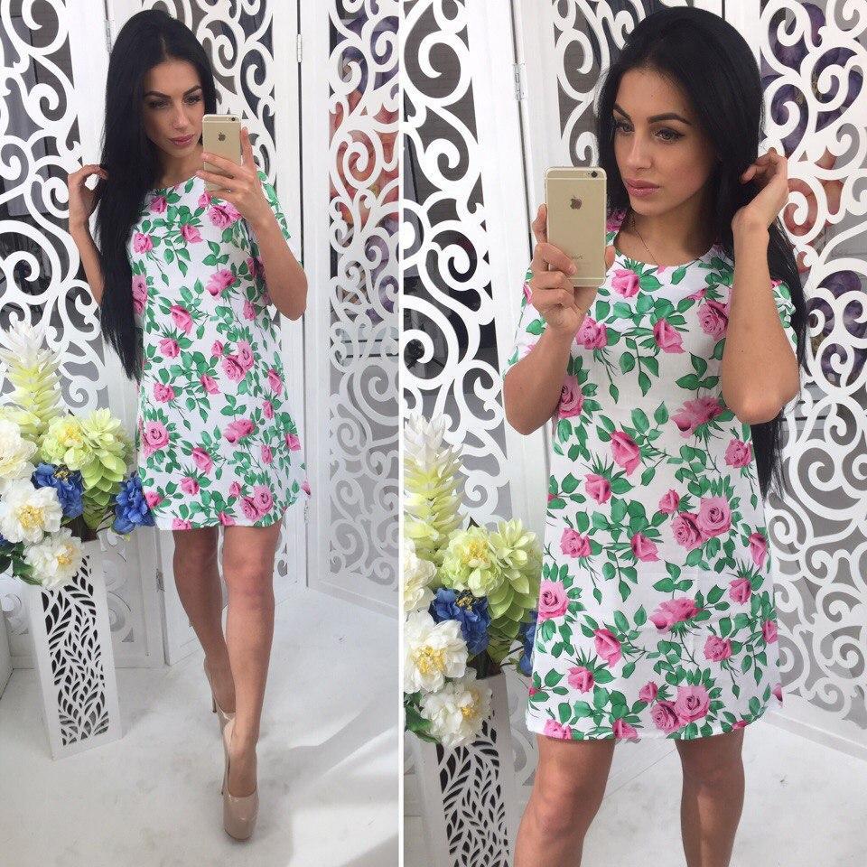 Коттоновое платье с цветочным принтом