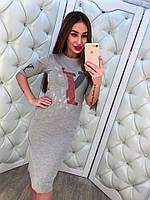 Коттоновое платье с рисунком LV