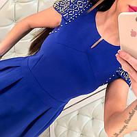 Трикотажное платье с бусинками на плечах