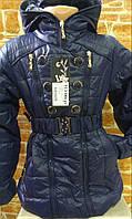 Куртка-пальто темно синяя подростковая демисезонная