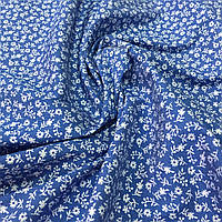 Джинс тонкий стрейчевый с белыми цветами на синем фоне, ширина 150 см, фото 1