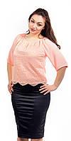 Женская блузка крестьянка с гипюром персиковая увеличенный размер