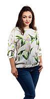 Белая шелковая блузка на резинке с крупными цветами, фото 1