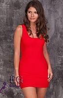 Платье - майка на бретелях короткое красное 043