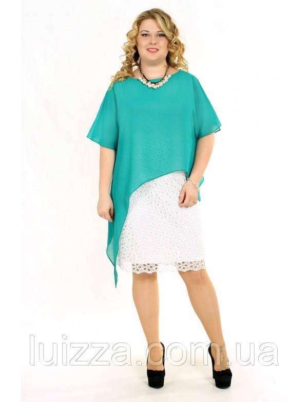 ea8cfe46bdb Кружевное платье с шифоновой накидкой - Luizza-Луиза женская одежда больших  размеров из Украины и