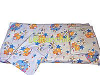 Постельный набор в детскую кроватку (3 предмета) Мишки пчелки синий