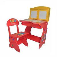 Детская парта и стульчик для детей  с мольбертом и шкафчиками (W 077)