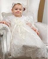 Комплект для крещения девочки Вероника от Miminobaby в цвете шампань от 0 до 6 месяцев