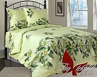 Красивый полутораспальный комплект белья в зеленых тонах Цветы