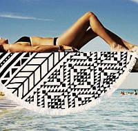 Пляжный коврик Мандала. 150-160см черно-белый