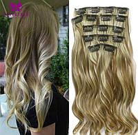 Волосы на заколках влнистые цвет №6/613 мелирование русое