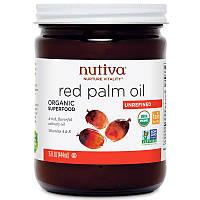 Органическое масло красной пальмы Nutiva, нерафинированое, 444 мл