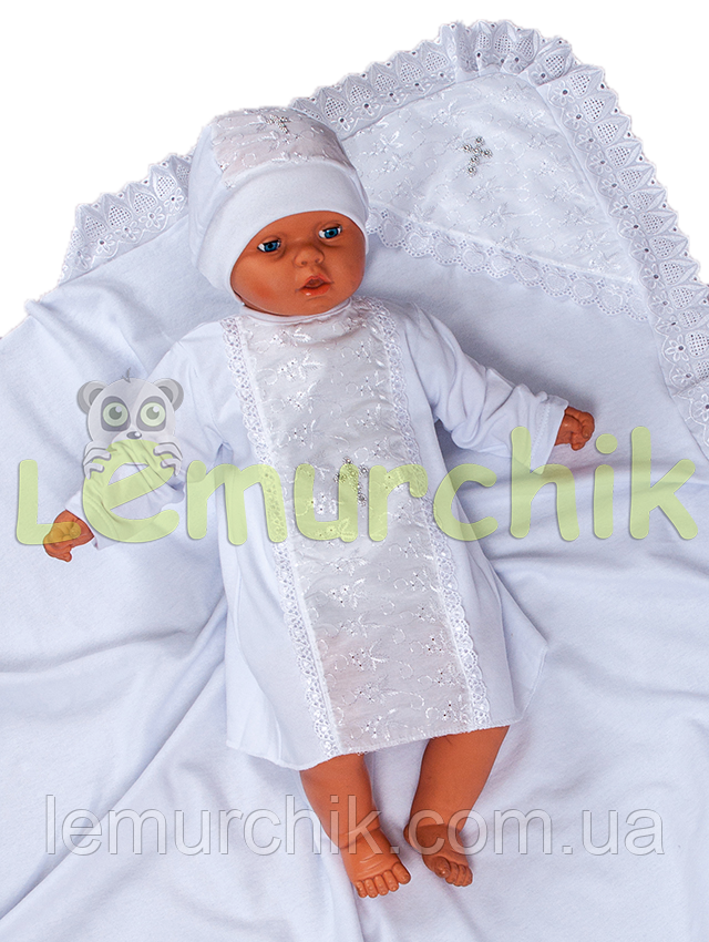Набір для хрещення білий (крижма+сорочка на зав'язочках+чепчик з хрестиком) байковий