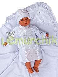 Набор для крещения белый (крыжма+рубашка на завязочках+чепчик с крестиком) байковый