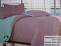 Комплект однотонного постельного белья на молнии 200х220