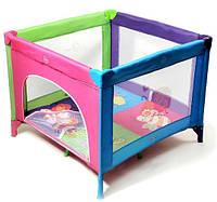Манеж квадратный сиреневый/розовый  Baby Tilly (BT-597)
