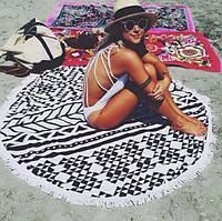 Пляжный коврик Мандала черно-белая