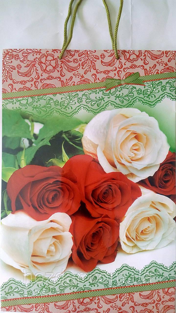 Пакет подарочный бумажный большой вертикальный 25х39х9 (27-012)