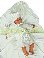 Набор для крещения молочный (крыжма+рубашка на завязочках+чепчик с крестиком) байковый