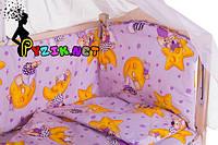 """Постельный набор в детскую кроватку (8 предметов) Premium """"Мишки на луне"""" фиолетовый"""