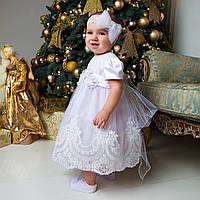 Платье для крещения девочки Ника (Вероника)  от Miminobaby белый от 6 до 18 месяцев