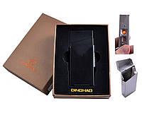 Портсигар с USB зажигалкой №4840 Black, под пачку сигарет Slim, изящный подарок, практичная вещь