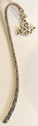 Закладка металева з безкінечником і підвіскою у вигляді голуба №1, фото 2