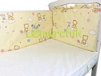 """Защита для детской кроватки 120х60 см, """"Мишки на облаке"""" бежевая"""