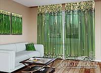 """ФотоТюль """"Ламбрекены из цветов и листьев"""" (2,5м*1,50м, на длину карниза 1м)"""