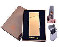 Портсигар с USB зажигалкой №4840 Gold, спираль накаливания и портсигар под пачку сигарет Slim, золотого цвета