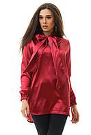 Блуза-туника атласная, цвета бордовая, золотая, бутылка, тёмно-зеленая, черная, голубая, все размеры