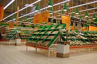 Стеллажи торговые под овощи фрукты в магазин. Овощные развалы торговые, фото 1