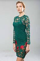 Платье из гипюра с вышивкой ROSE зеленое, фото 1