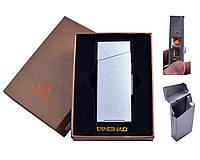 Портсигар с USB зажигалкой №4840 Silver, под пачку сигарет Slim, безопасная зажигалка, подарочная упаковка