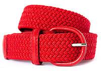 Красивый текстильный женский ремень в красном цвета со стильной пряжкой пряжкой Alon (Алон) 900365