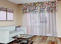 """ФотоТюль """"Ламбрекены из цветов"""" (2,5м*7,5м, на длину карниза 5,0м)"""