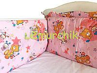 """Защита для детской кроватки 120х60 см, """"Мишки пчелки"""" розовая"""