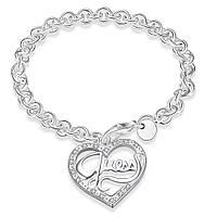 Покрытый серебром женский браслет Стиль Сердце 159706