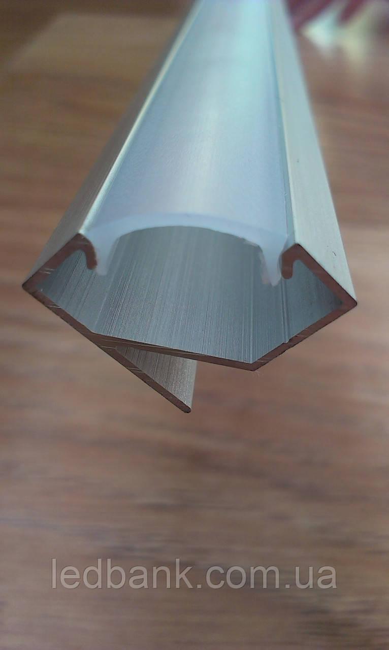 Алюминиевый профиль для LED ленты угловой анодированный + рассеиватель матовый или прозрачный