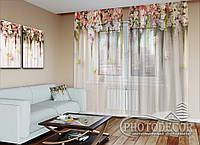 """ФотоТюль """"Ламбрекены из цветков"""" (2,5м*3,0м, на длину карниза 2,0м)"""