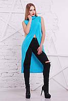 Женская кофта без рукавов, голубая,  S